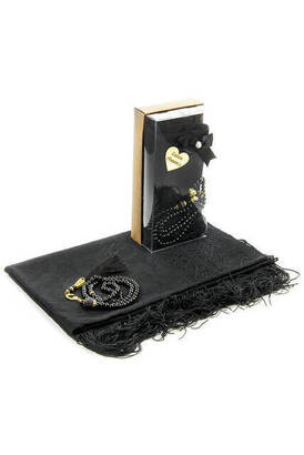 İhvan - Mevlid Gift Set - Rosary - Shawl Covered - Black Color