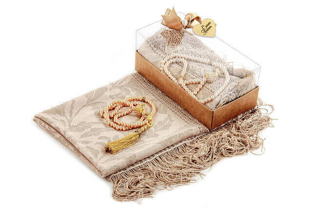 Mevlid Gift Set - Rosary - Shawl Covered - Dark Cream Color