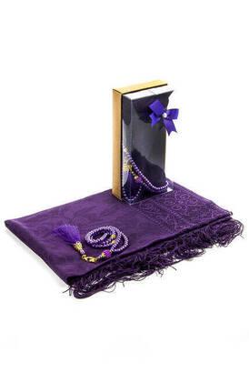 İhvan - Mevlid Gift Set - Rosary - Shawl Covered - Dark Purple Color