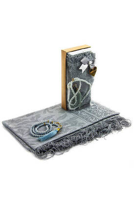 İhvan - Mevlid Gift Set - Rosary - Shawl Covered - Gray Color