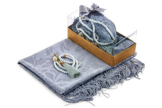 Mevlid Gift Set - Rosary - Shawl Covered - Gray Color