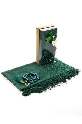 İhvan - Mevlid Gift Set - Rosary - Shawl Covered - Green Color