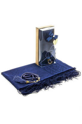 İhvan - Mevlid Gift Set - Rosary - Shawl Covered - Navy Color