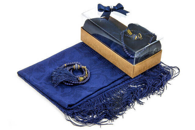 Mevlid Gift Set - Rosary - Shawl Covered - Navy Color