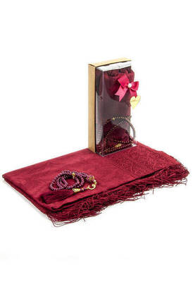 İhvan - Mevlid Gift Set - Rosary - Shawl Covered - Red Color