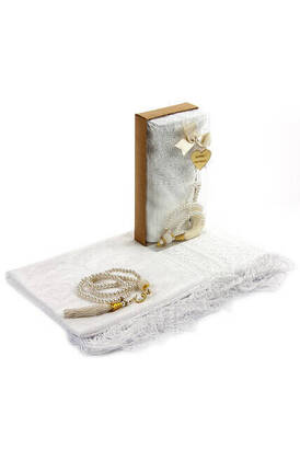 İhvan - Mevlid Gift Set - Rosary - Shawl Covered - White Color