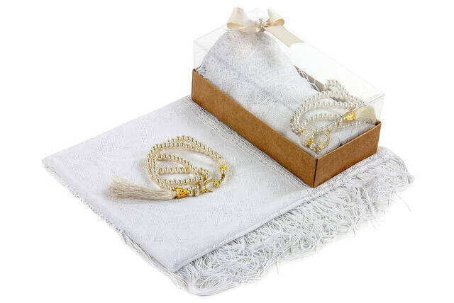Mevlid Gift Set - Rosary - Shawl Covered - White Color