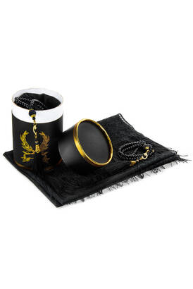 İhvan - Mevlid Gift Set with Cylinder Box - Pearl Rosary - Mevlid Covered - Black Color
