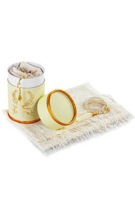 İhvan - Mevlid Gift Set with Cylinder Box - Pearl Rosary - Mevlid Covered - Cream Color