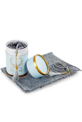 İhvan - Mevlid Gift Set with Cylinder Box - Pearl Rosary - Mevlid Covered - Gray Color
