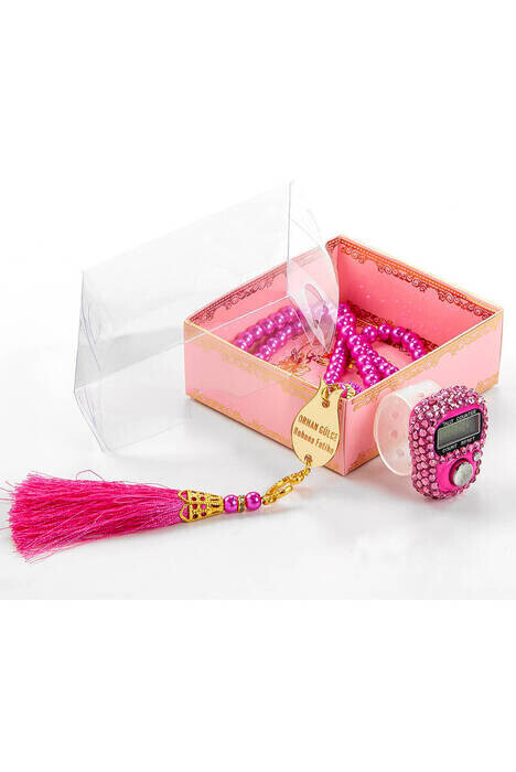 Mevlid Gift Set With Plexi Pearl Rosary and Zikirmatik Special For Your Name - Pink Color