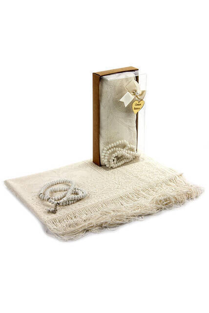 Mevlut Gift Set - Rosary - Shawl Covered - Cream Color