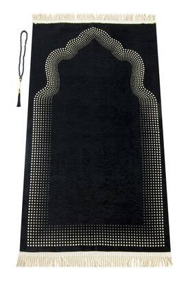 İhvan - Mihrap Desenli Düz Şönil Seccade Siyah