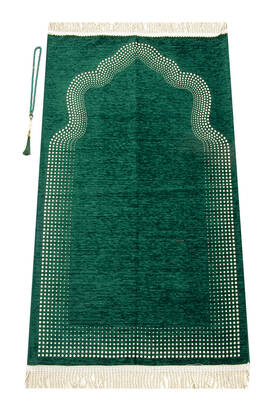 İhvan - Mihrap Desenli Düz Şönil Seccade Yeşil
