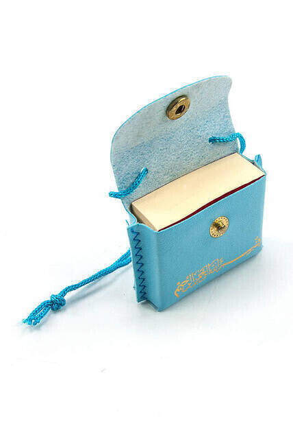 Mini Quran with Leather Bag - Plain Arabic - Blue Color - 25 Pieces