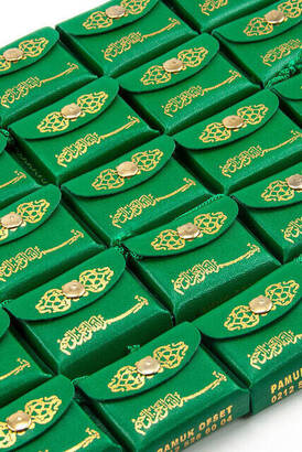 İhvan - Mini Quran with Leather Bag - Plain Arabic - Green Color - 25 Pieces