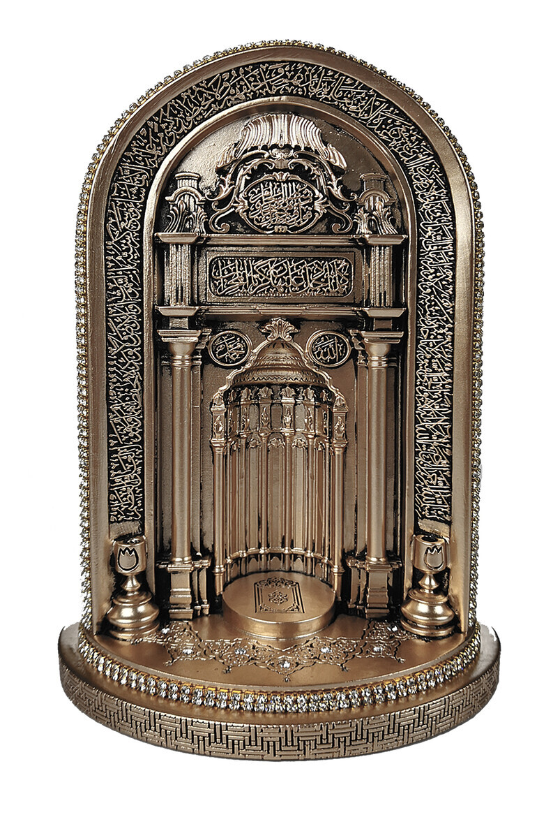 Mosque Mihrab Crystal Stone Ornament Religious Gift Trinket Small Mother of Pearl