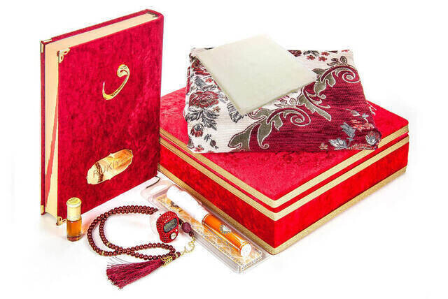 Mother's Day Gift Special Velvet Covered Quran with Chest and Religious Gift Set