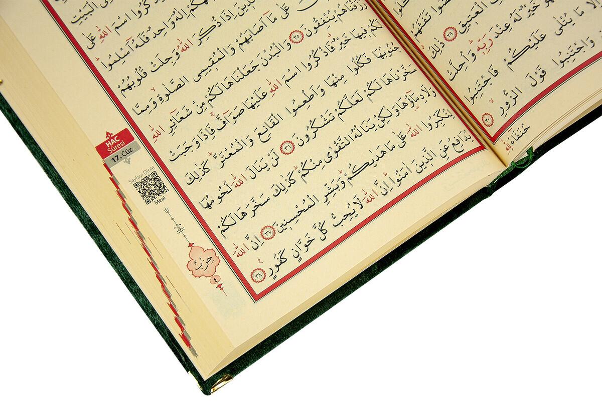 Mother's Day Gift Velvet Covered Quran - Plain Arabic - Medium - Green