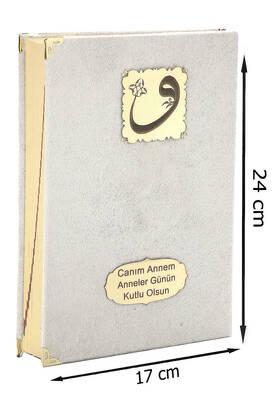 İhvan - Mother's Day Gift Velvet Covered Quran - Plain Arabic - Medium Size - Cream