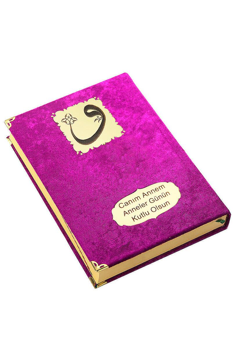 Mother's Day Gift Velvet Covered Quran - Plain Arabic - Rahle Boy - Fuchsia
