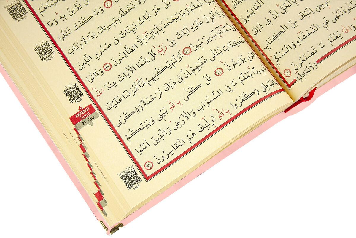 Mother's Day Gift Velvet Covered Quran - Plain Arabic - Rahle Boy - Pink