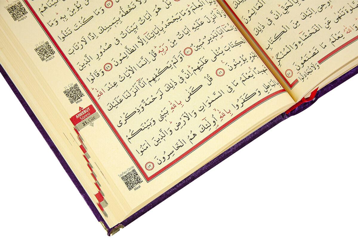 Mother's Day Gift Velvet Covered Quran - Plain Arabic - Rahle Boy - Purple