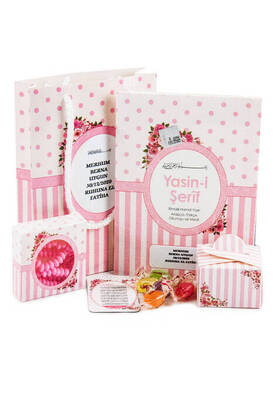 Ecrin Yayınları - Name-Specific Label Yasin Set - Bag Boy - 64 Pages - Rosary - Magnetli - Sugary - Pink Color - Mevlid Gift