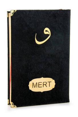 İhvan - Name-Specific Velvet Coated Vavli Medium Meal Koran Black