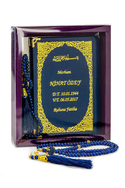 Name Printed Harded Yasin Book - Bag Boy - 128 Pages - Boxed - Vavli Pearl Rosary - Navy Color - Gift Set