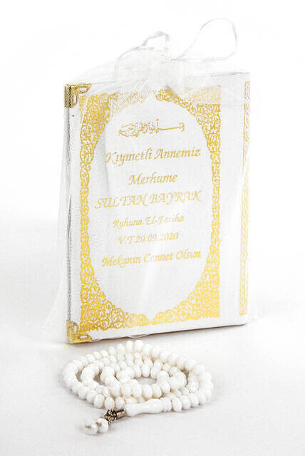 Name Printed Harded Yasin Book Bag Size 128 Page Rosary White Color Mevlit Gift