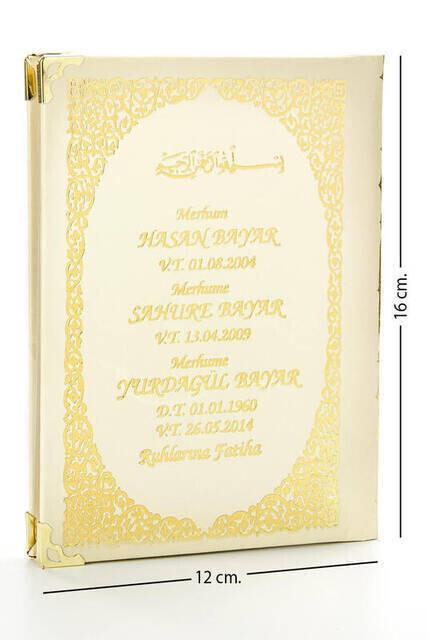 Name Printed Hardlied Yasin Book - Bag Boy - Beige - 128 Pages - Mevlit Gift