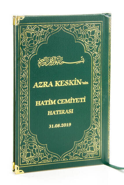 Name Printed Hardlier Yasin Book - Medium Size - 176 Pages - Green Color - Mevlut Gift