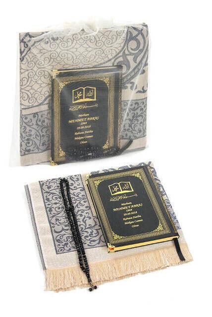 Name Printed Hardlier Yasin Book - Seccade - Crystal Rosary Set - Islamic Gifts