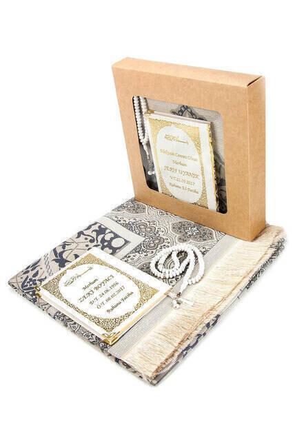 Name Printed Hardli Yasin Book - Seccadeli - Rosary - Boxed - Gray - Mevlit Gift Set