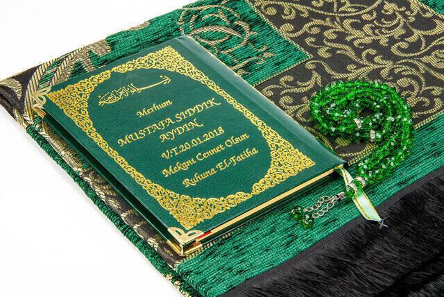 Name Printed Hardli Yasin Book - Seccadeli - Rosary - Boxed - Green - Mevlit Gift Set