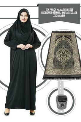 İhvan - One Piece Prayer Dress - Black - 5015 and Prayer Rug and Zikirmatik - Triple Set