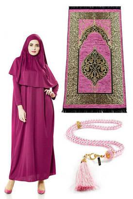 İhvan - One Piece Prayer Dress - Prayer Rug - Rosary - Worship Set - Fuchsia