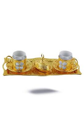 İhvan - Oryant Yonca 2'li Kahve Seti Sarı Kutulu 125-S-K-18