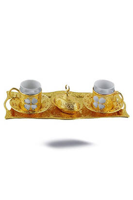 İhvan - Oryant Clover Coffee Set 2 Pieces Yellow Boxed 125-S-K-18