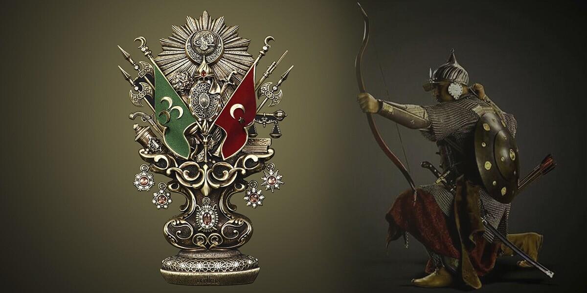 Osmanlı Boytu (Büyük Boy) Osmanlı Devlet Arması Antik Sarı