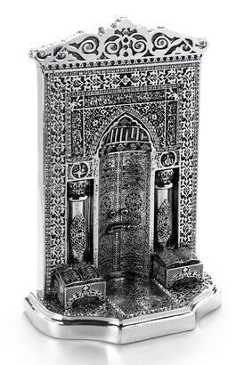 İhvan - Osmanlı Desen Cami Mihrabı Kristal Taş Süslemeli Dini Hediyelik Biblo Gümüş Renk