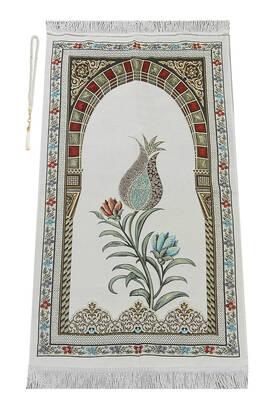 İhvan - Osmanlı Kemer Mihraplı Lale Motifli Şönil Seccade Beyaz