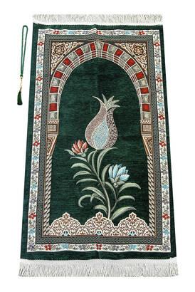 İhvan - Osmanlı Kemer Mihraplı Lale Motifli Şönil Seccade Yeşil