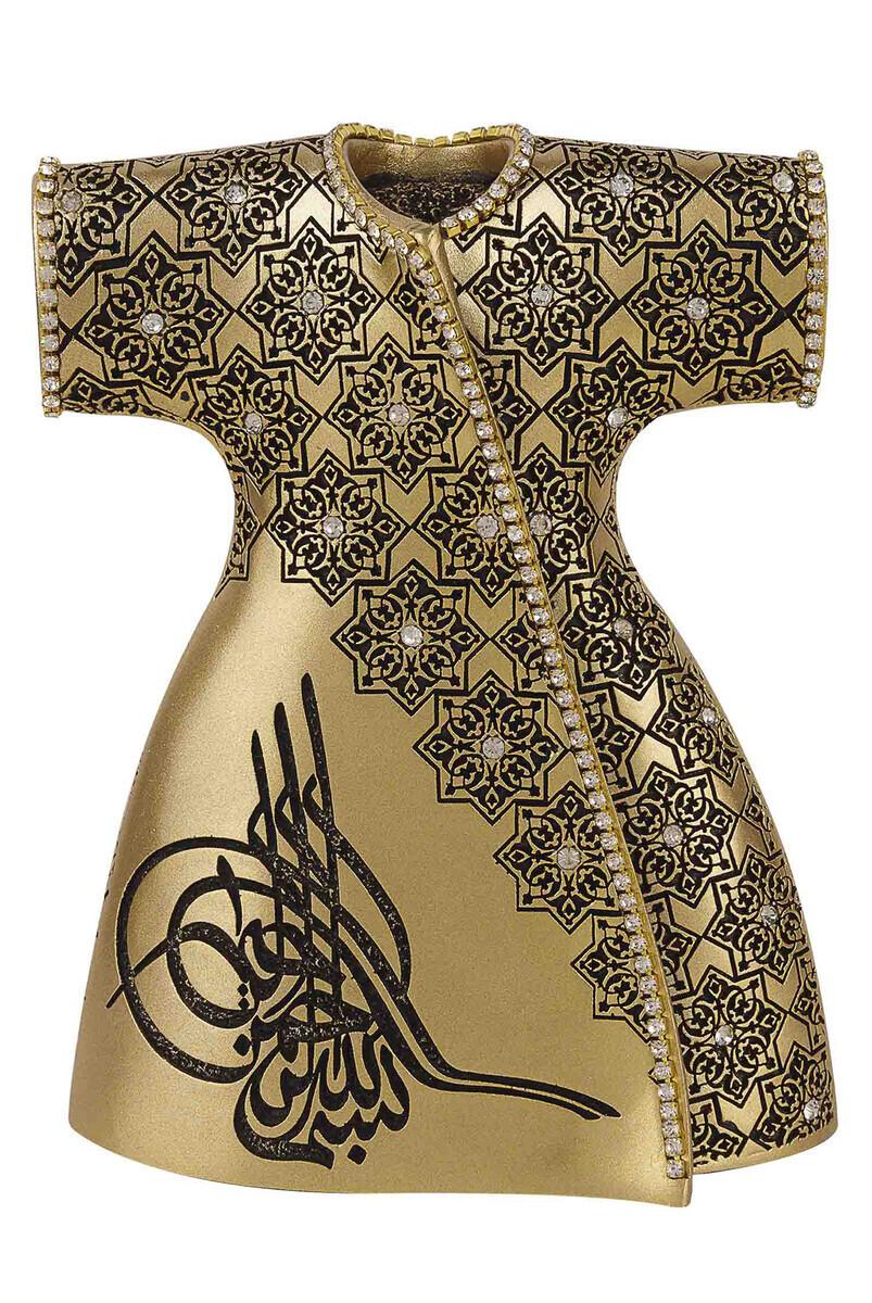 Osmanlı Tuğralı Kristal Taşlı Zarif Kaftan Dini Hediyelik Biblo Sarı
