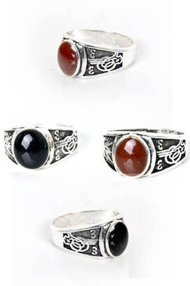 İhvan - Ottoman Coat of Arms 2 Colored Stone Ring 42 pcs-6113
