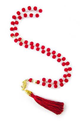 İhvan - Özel Kadife Desenli Püsküllü 99 'lu Kristal Hac Umre Hediyelik Tesbih - Kırmızı
