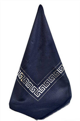 İhvan - Panel Patterned Gilded Navy Blue Cloth