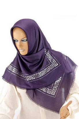 İhvan - Panel Patterned Purple Coverlet
