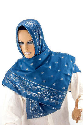 İhvan - Pano Desenli Varaklı Mavi Örtü